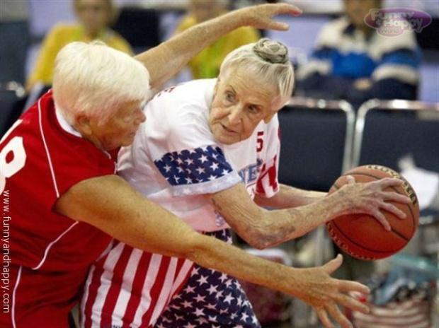 Funny Grandma playing basketball